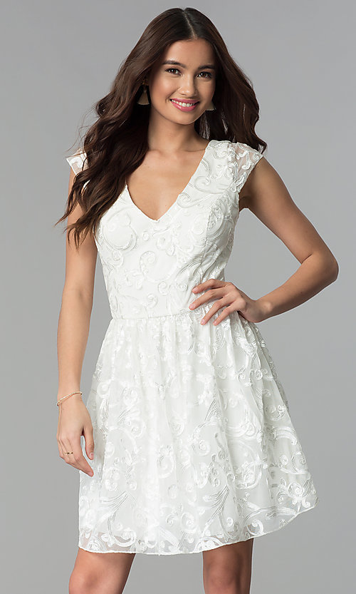 Image of v-neck short ribbon-embroidered graduation dress. Style: EM-FXG-3753-120 Front Image
