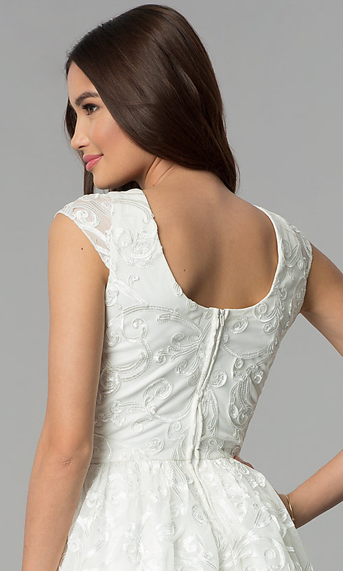 Image of v-neck short ribbon-embroidered graduation dress. Style: EM-FXG-3753-120 Detail Image 2