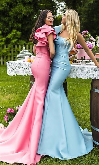 Long One-Shoulder Prom Dress with a Ruffled Shoulder