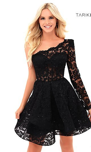 Short Fit-and-Flare Prom Dress with a Sleeve