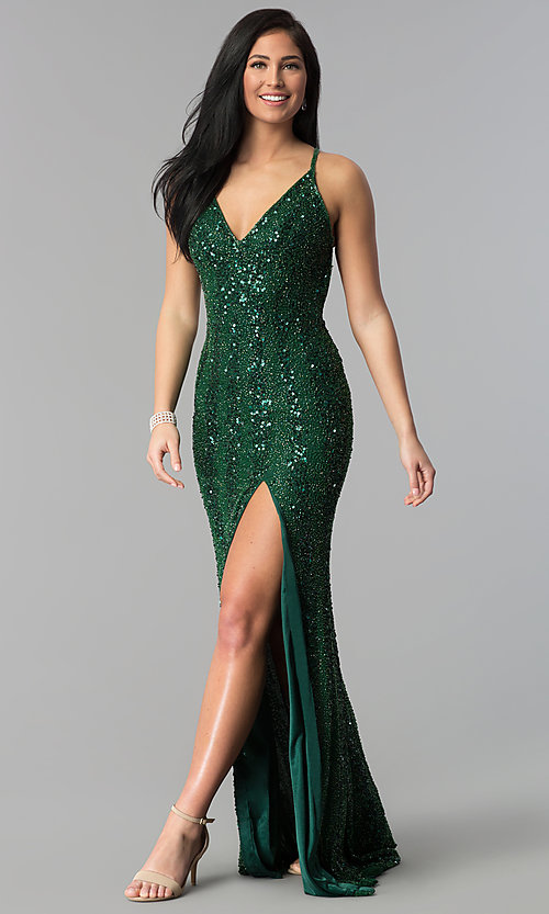 Sequin V-Neck Long Alyce Prom Dress