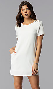 Graduation Party Shift Dress with Short Sleeves