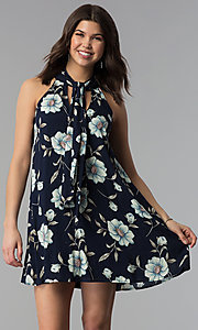 Floral-Print High-Neck Short Casual Shift Dress