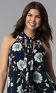 Image of floral-print high-neck short casual shift dress. Style: VJ-LD42044 Detail Image 1