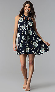 Image of floral-print high-neck short casual shift dress. Style: VJ-LD42044 Detail Image 2