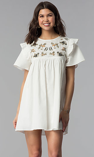 ee406a44aeaf Sleeved Casual White Cotton Dress with Embroidery