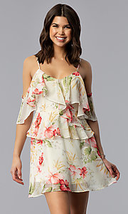 Short Chiffon Flounce Floral-Print Party Dress
