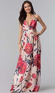 Image of long v-neck floral-print wedding guest dress. Style: SOI-M17621 Detail Image 3