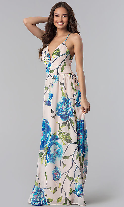 Image of long v-neck floral-print wedding guest dress. Style: SOI-M17621 Front Image