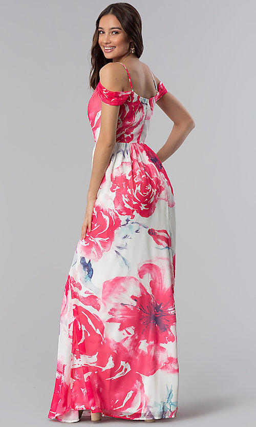 e146534641f Image of cold-shoulder floral-print long wedding-guest dress. Style