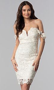 Image of short lace off-the-shoulder wedding guest dress. Style: SOI-S17631 Detail Image 1