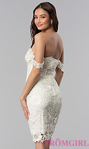 Image of short lace off-the-shoulder wedding guest dress. Style: SOI-S17631 Back Image