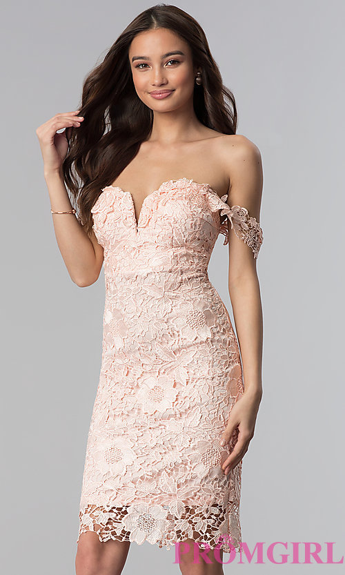 Image of short lace off-the-shoulder wedding guest dress. Style: SOI-S17631 Detail Image 2