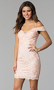 Lace Off-the-Shoulder Wedding Guest Dress