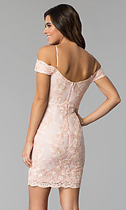 Image of embroidered-lace off-shoulder cocktail party dress. Style: SOI-S17888 Back Image