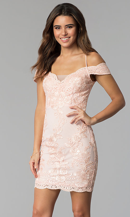 Image of embroidered-lace off-shoulder cocktail party dress. Style: SOI-S17888 Detail Image 1
