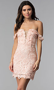 Image of short floral-lace off-the-shoulder party dress. Style: SOI-S17632 Detail Image 3