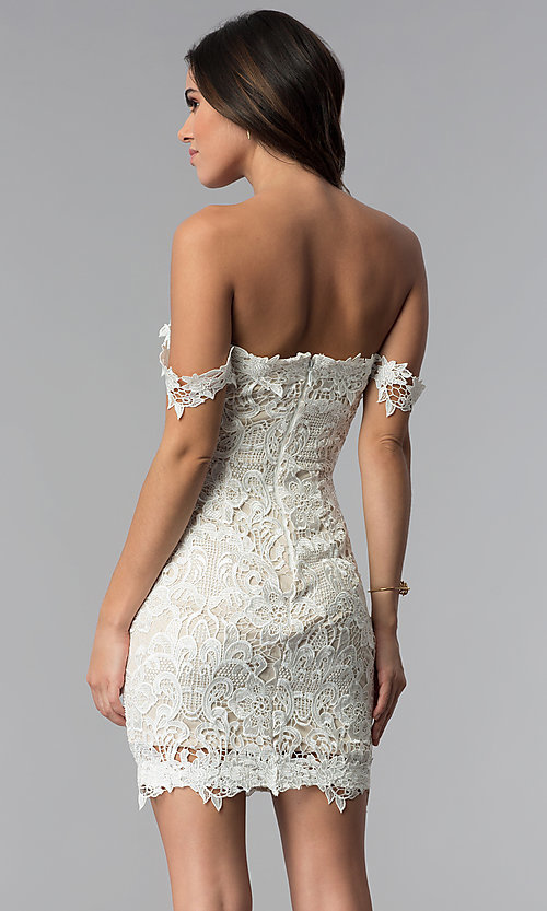 Image of short floral-lace off-the-shoulder party dress. Style: SOI-S17632 Back Image
