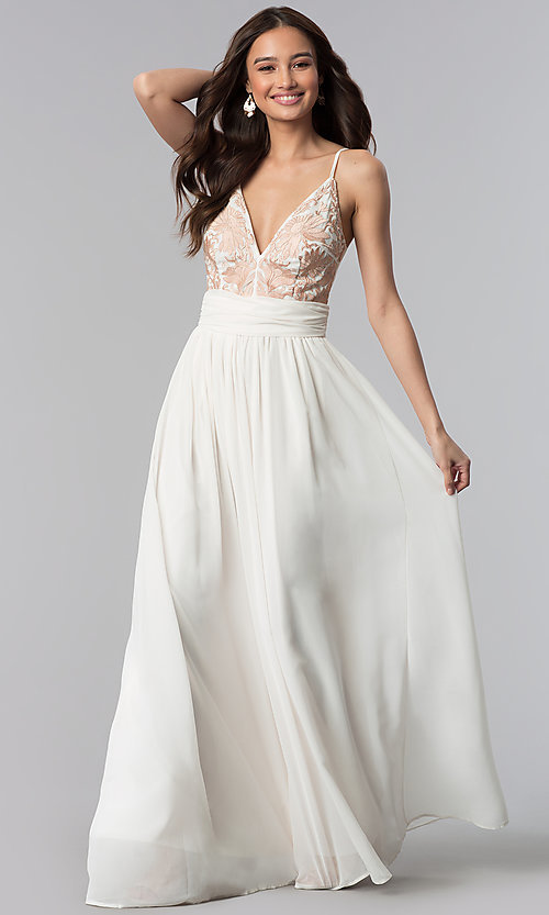 Image of long cream white embroidered v-neck graduation dress. Style: SOI-M17384 Front Image