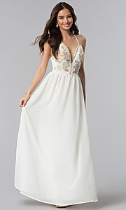 Image of long embroidered-bodice v-neck ivory grad dress. Style: SOI-M17520 Front Image