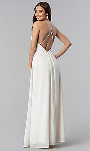 Image of long embroidered-bodice v-neck ivory grad dress. Style: SOI-M17520 Back Image