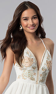 Image of long embroidered-bodice v-neck ivory grad dress. Style: SOI-M17520 Detail Image 1