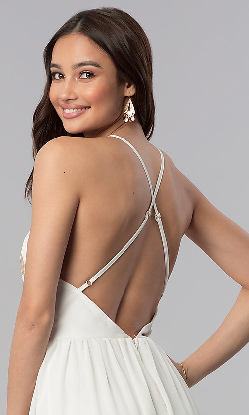Image of long embroidered-bodice v-neck ivory grad dress. Style: SOI-M17520 Detail Image 2