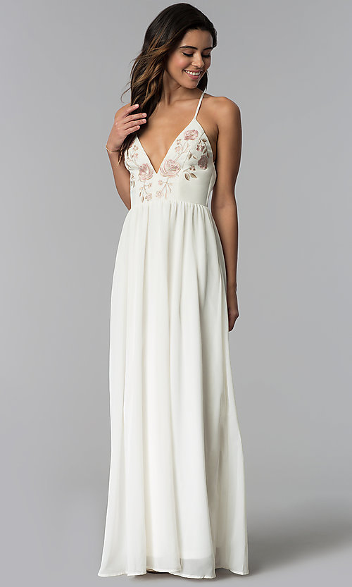 Image of v-neck long wedding-guest dress with embroidery. Style: SOI-M17716 Detail Image 2
