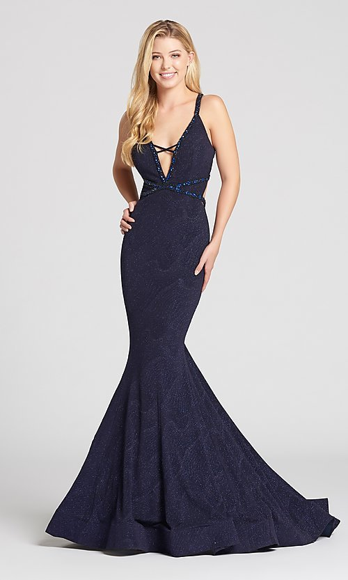 Long Caged-Back Deep V-Neck Mermaid Prom Dress