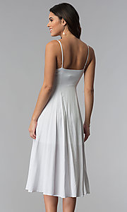 Image of knee-length spaghetti-strap casual party dress. Style: RO-R67680 Back Image