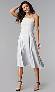 Image of knee-length spaghetti-strap casual party dress. Style: RO-R67680 Detail Image 3