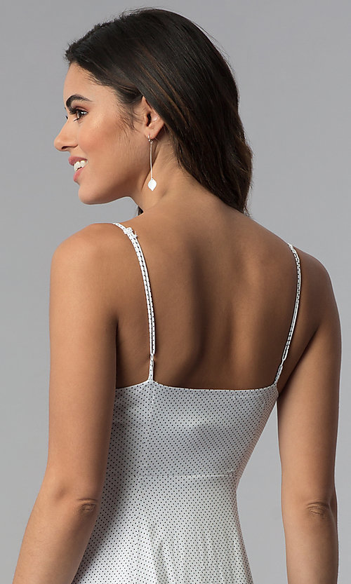 Image of knee-length spaghetti-strap casual party dress. Style: RO-R67680 Detail Image 2
