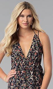 Image of short navy open-back floral-print casual party dress. Style: RO-R67614 Detail Image 2
