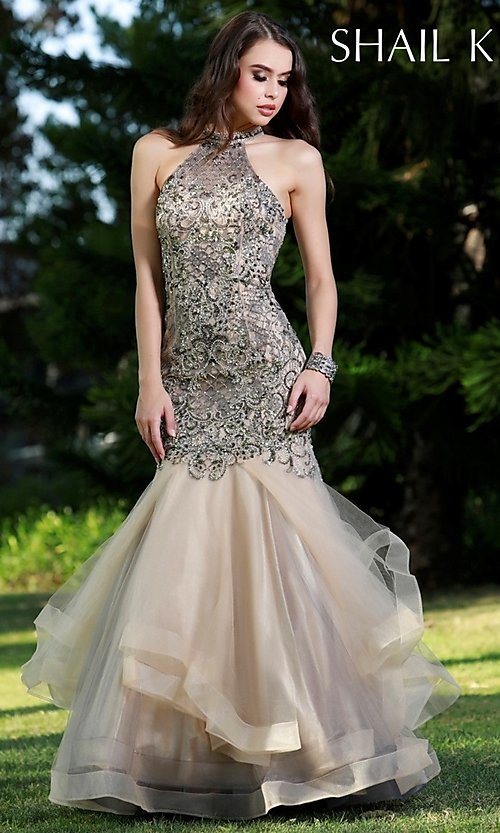 452ceadf77962d Long Tiered Mermaid Prom Dress by Shail K