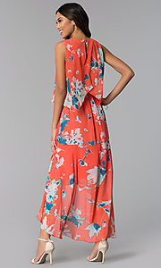Image of high-low casual floral-print tea-length cruise dress. Style: SG-ACAS607C Back Image