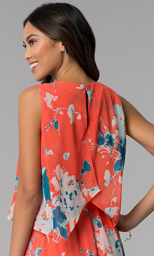 Image of high-low casual floral-print tea-length cruise dress. Style: SG-ACAS607C Detail Image 2
