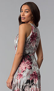 Image of floral-print grey high-low wedding-guest dress. Style: SG-ACBF939 Detail Image 2