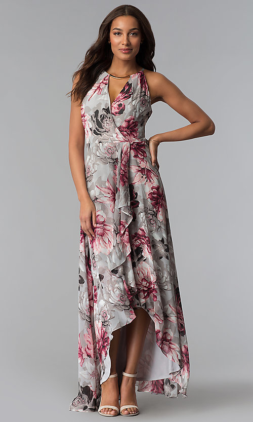 Image of floral-print grey high-low wedding-guest dress. Style: SG-ACBF939 Front Image