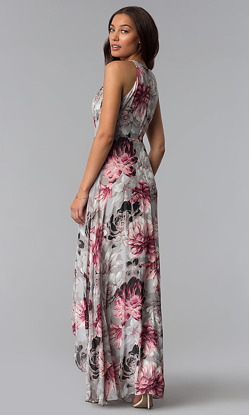 Image of floral-print grey high-low wedding-guest dress. Style: SG-ACBF939 Back Image