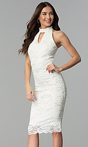 Image of ivory white midi-length floral-lace cocktail dress. Style: SG-ABMGL046 Front Image