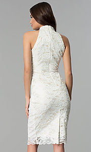 Image of ivory white midi-length floral-lace cocktail dress. Style: SG-ABMGL046 Back Image