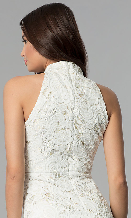 Image of ivory white midi-length floral-lace cocktail dress. Style: SG-ABMGL046 Detail Image 2