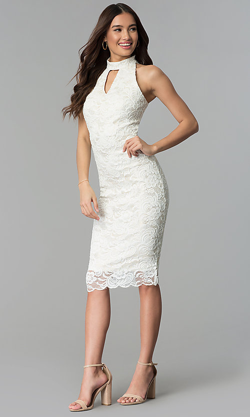 Image of ivory white midi-length floral-lace cocktail dress. Style: SG-ABMGL046 Detail Image 3