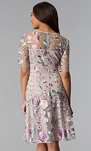 Image of short floral-embroidered wedding-guest party dress. Style: JX-1XBE014R Back Image