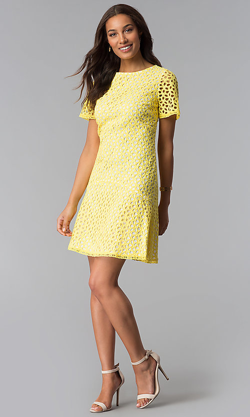 Image of short-sleeve eyelet-lace short party dress. Style: JX-1XDT044A Detail Image 2