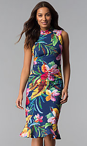 Image of blue tropical-floral-print knee-length party dress. Style: JX-1XEE214H Front Image