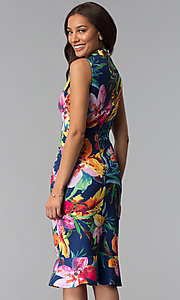 Image of blue tropical-floral-print knee-length party dress. Style: JX-1XEE214H Back Image