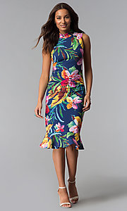 Image of blue tropical-floral-print knee-length party dress. Style: JX-1XEE214H Detail Image 2