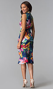 Image of blue tropical-floral-print knee-length party dress. Style: JX-1XEE214H Detail Image 3