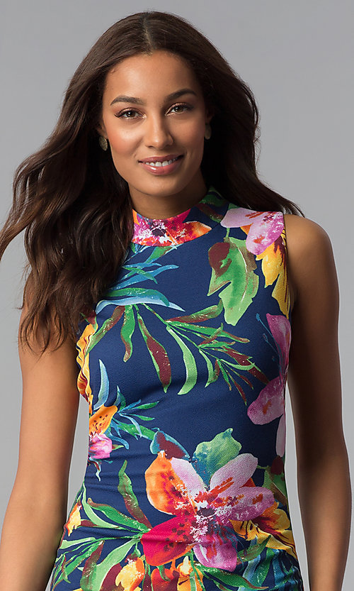 Image of blue tropical-floral-print knee-length party dress. Style: JX-1XEE214H Detail Image 1